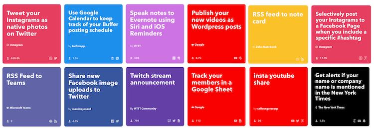 IFTTT Applets mẫu cho marketer